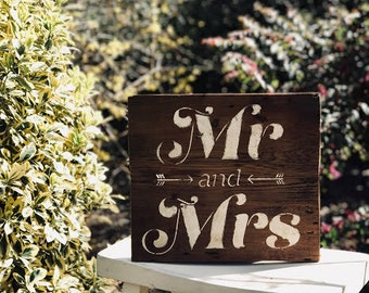 """Rustic """"Mr & Mrs"""" Hand Painted Barn Wood Sign"""