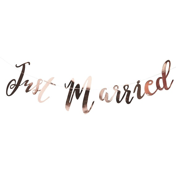 Just Married Banner, Rose Gold Paper Banner, Just Married Bunting, Wedding Banner, Just Married Banner Just Married Script Bachelorette