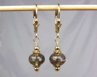 Faceted AAA Smoky Quartz and Gold Earrings with Gold Leverback Ear Wires