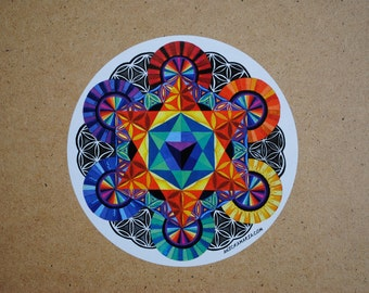 "Sacred Geometry Sticker -6""x6"" (of a painting.)"