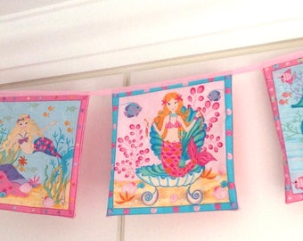 Mermaid Bunting Dolphin Seahorse Pink Turquoise Seashell Girl Banner