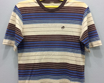 Vintage 80s Hang Ten Tshirt Tee Striped Surfing Skates Unisex Adult Chest 19.5 Fv5nw6g