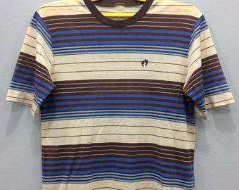 Vintage 80s Hang Ten Tshirt Tee Striped Surfing Skates Unisex Adult Chest 19.5