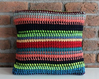 Hand Knitted Throw Pillow Cover striped pillow case stripe throw pillow black red green blue crochet pillow boho colorful fashion pillow