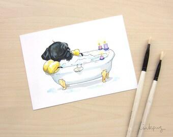 Pug in a Tub Black Pug Art Print - Art for Bathroom, Pug Bathroom Print, Bathroom Art, Cute Dog Groomer or Salon Art by InkPug