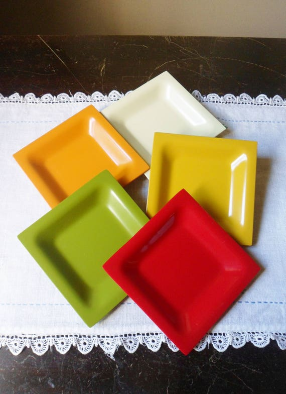 Like this item? & Five Small Multi Colored Dishes Melamine Plastic Dinnerware