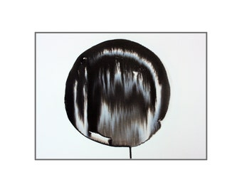 Original modern abstract black and white ink painting wall art home decoration minimalist art A3