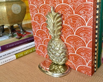 Vintage Brass Pineapple Bookends, Pair