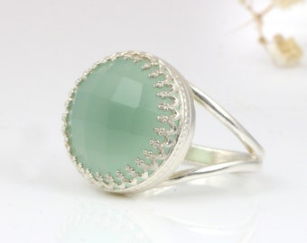 MOTHER'S DAY SALE - Aqua Chalcedony ring,aqua ring,silver ring,gemstone ring,statement rings,custom rings,anniversary rings