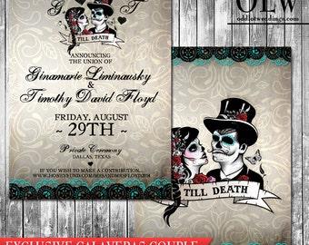 Calaveras Sugar Skull Wedding Invitation and RSVP  - Digital Printable wedding suite- Day of the Dead Mexican Heritage Wedding