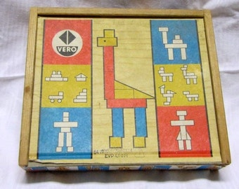 Wooden kit of VERO. Blocks building blocks wooden toy building toy block box modular building blocks. Around 1960 / 70. VINTAGE