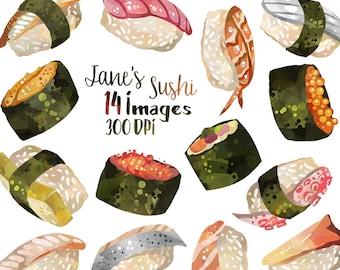 Watercolor Sushi Clipart - Seafood Graphics - Digital Download - Sushi Nigiri Fish salmon tuna Scrapbook Supplies