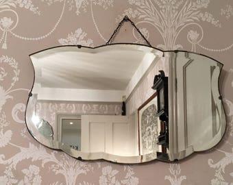 Vintage Bevelled Edge Fancy Cloud shaped Mirror Art Deco