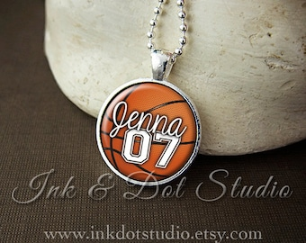 Basketball pendant etsy personalized necklace custom basketball pendant basketball necklace basketball mom jersey number mozeypictures Images