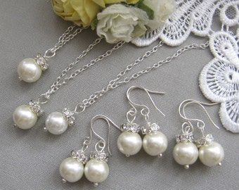 SET of 5 Rhinestone pearl necklace  earring set, bridesmaid necklace, bridesmaids gift custom pearl jewelry white ivory pearl W003S