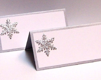 Set of 10 Snowflake Place Cards