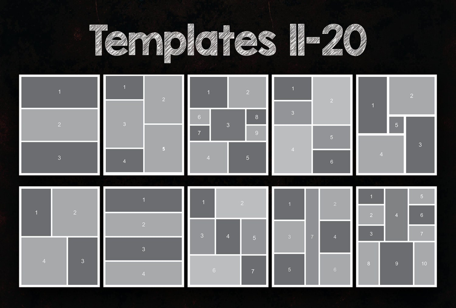 5x7 Photo Collage Template Pack, 25 PSD Templates, Photoshop Collage ...