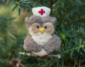 Needle Felted Owl Ornament - Nurse