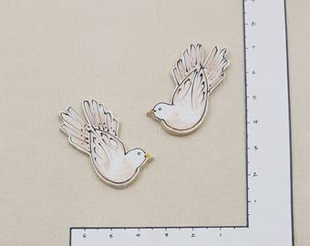 GROUPING - pair of Doves - handmade ceramic mosaic art tile