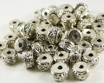 Sliver Plated CCB Acrylic Rondelle Floral Pattern Beads, Donut Spacer Beads
