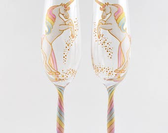 Long Tail Unicorn Crystal Champagne Flutes (curvy stem)