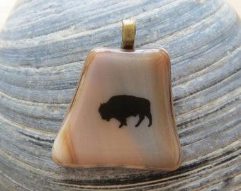 0055 - Southwestern Buffalo Fused Glass Pendant