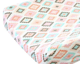 Alexis's Aztec Gilded Arrow | Blush and Gold Changing Pad Cover