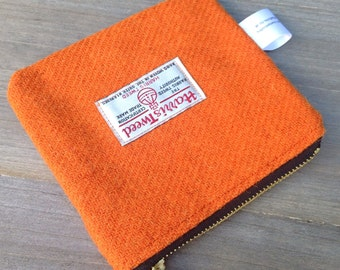 Orange Harris tweed coin purse zip pouch storage pouch