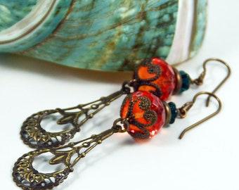 Pumpkin Pie, Orange Green Glass Earrings, Vintaj Brass Chandelier Earrings, Bohemian Jewelry, Eclectic Minimalist Earrings