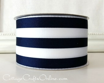"Wired Ribbon, 2 1/2"" , Navy Blue and White Stripe - TWENTY FIVE YARD Roll - Offray ""Carnival"", Grosgrain Style Nautical Wire Edged Ribbon"