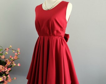 Red dress Blood red dress red party dress dark red prom dress bow back dress red bridesmaid dresses dark red backless dress