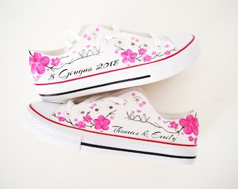 Personalized shoes / Pink flowers shoes / Wedding shoes / Wedding theme / Cherry Blossom Bride shoes