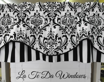 """SALE Valance window treatment blk and white, lined 50x20"""" lined corded"""
