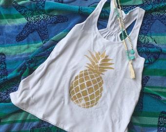Gold Glitter Pineapple Flowy Tank