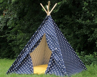 Kids Teepee READY TO SHIP Navy Dot, Two Sizes Available, Play Tent, Tee Pee, Tent, Can Include Window