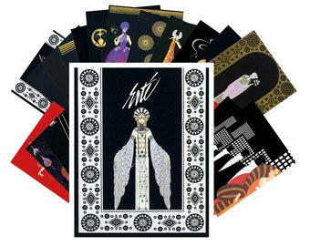 Postcards Set 24pcs * Erte Art Deco Artist Vintage Painting CC1018
