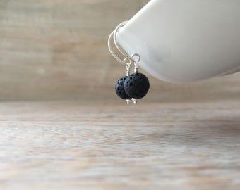 Lava Rock Dangle Earrings, Sterling Silver, Lava Rock aromatherapy earrings, Black Lava Stone Jewelry, valentines day Girl, Healing Stone,