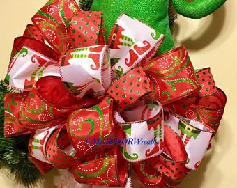 Elf Tree Topper Bow, Christmas Elf Tree Topper Bow, Christmas Tree Decor Bow, Red & Green Tree Topper, Elves Tree Topper Bow, Holiday Bow XL