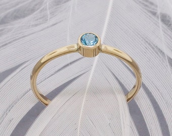 Blue Topaz Ring - Gold Ring - Engagement Ring - Promise Ring for Her - Minimalist Ring - Infinity Ring - Dainty Ring