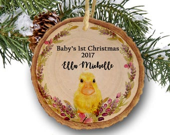 Personalized Baby's first Christmas ornament,Personalized Christmas ornament,Baby's first Christmas, baby duck, tree slice, wooden