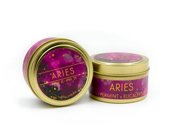 Travel Astrological Candle // Aries // Fire Sign // 100% Natural Soy Wax // Gifts for her // Gifts for him // Aries Gifts // Travel Size