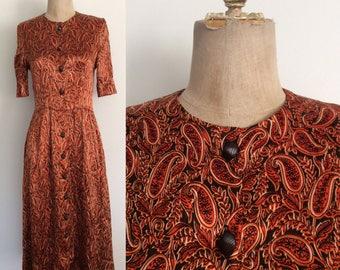 1970's Orange Paisley Print Button Up Dress Size Small Medium by Maeberry Vintage
