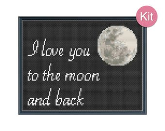Cross Stitch Kit - I Love You to the Moon and Back, DIY Craft, Anniversary Gift, Nursery Decor, Cotton Anniversary, Modern Embroidery