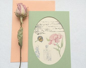 Art Postcard with botanical illustration - Peony - Watercolor with hand stamped antique stamp. Fine art. Hand painted. OOAK Card.