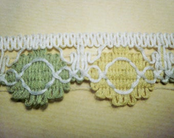 Stripe acrylic, ecru, yellow and green color, width 4.3 cm