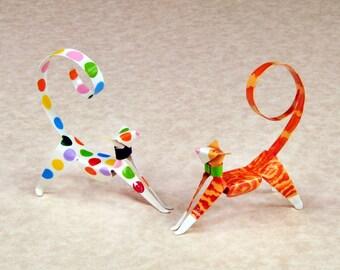Stretching  Handpainted Kitten Sculpture Handmade Copper Miniature Collectible Art, Animal Art, Kitten Art, Cat Art, Cat figurine