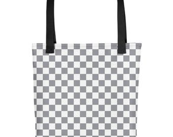 Grey Checkerboard Pattern Tote bag
