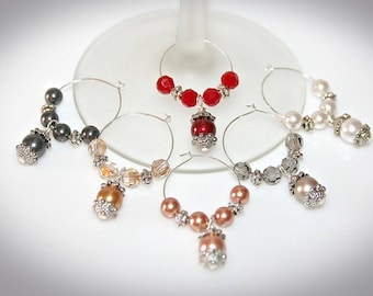 Swarovski Crystal Pearl Wine Charms - Set of Six. Multi-Color Jewel Tone Pearls