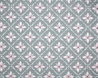 1940s Vintage Wallpaper by the Yard - Pink and Gray Geometric with Metallic Silver Accents