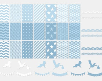 005 BABY BLUE digital paper pack for scrapbooking, albums, cards and crafts, special for baby shower